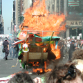 A fire outside MSG disrupts the otherwise peaceful protest.